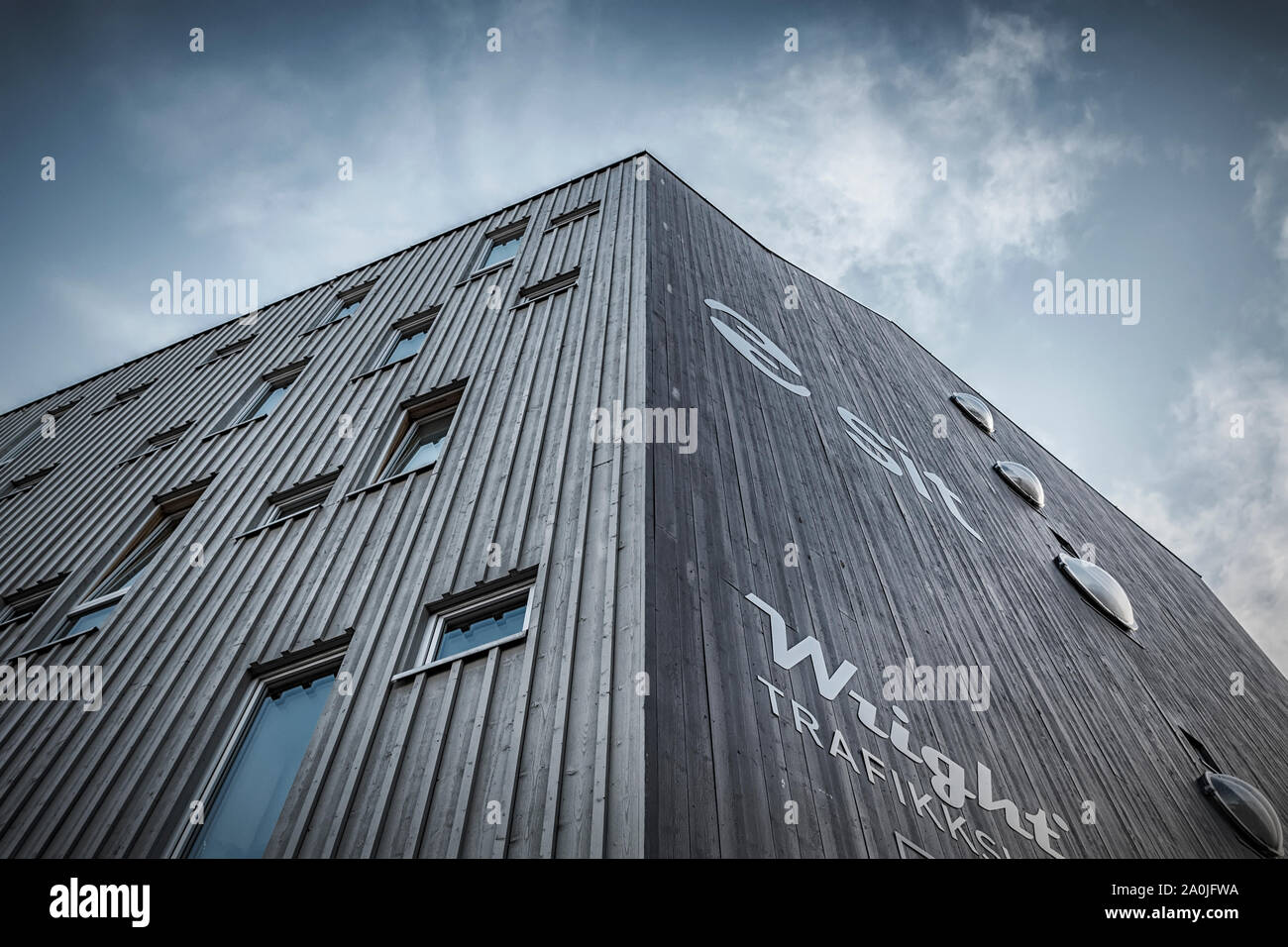 TRONDHEIM, NORWAY - SEPTEMBER 07, 2019: Teknobyen housing is where 116 students live in small apartments with bathrooms, while sharing the worlds larg Stock Photo