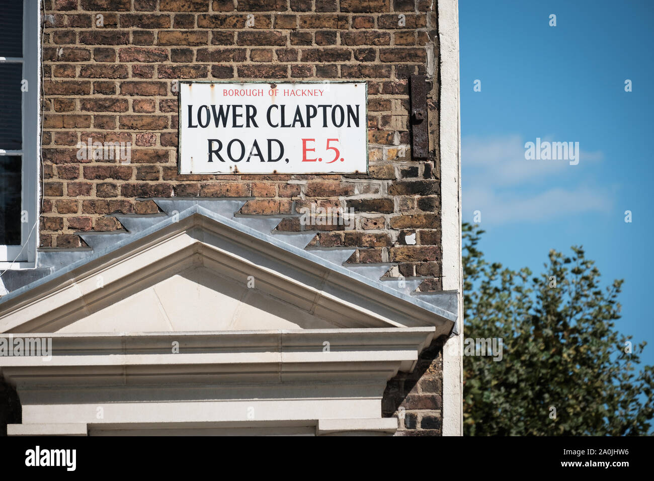 Street sign for Lower Clapton Road, Hackney, East London, UK Stock Photo