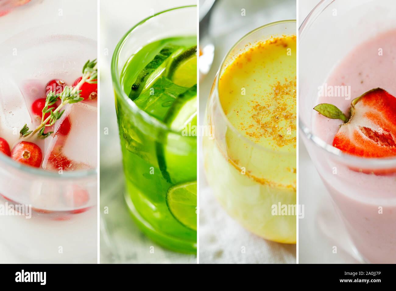 Beautiful healthy lifestyle theme collage of diet detox drinks close-up.Set of vegan beverages:coconut strawberry yogurt,matcha tea or lemonade Stock Photo