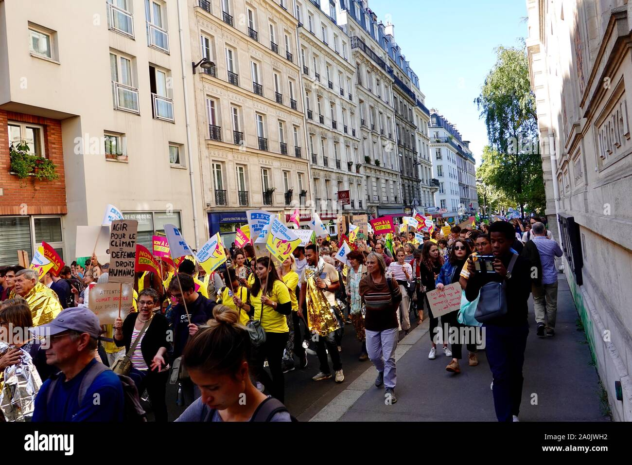 Paris, France. 20 September 2019. Global Climate Week demonstration taking place today in the 12th Arrondissement of Paris, with students, union members, and other worried citizens coming together to express their concern for the planet and the need to take seriously the climate emergency. Stock Photo