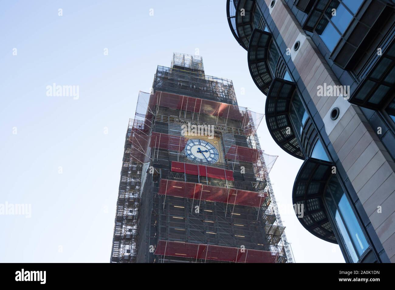 Big Ben  Clock tower  with scaffolding renovation work London united kingdom Stock Photo