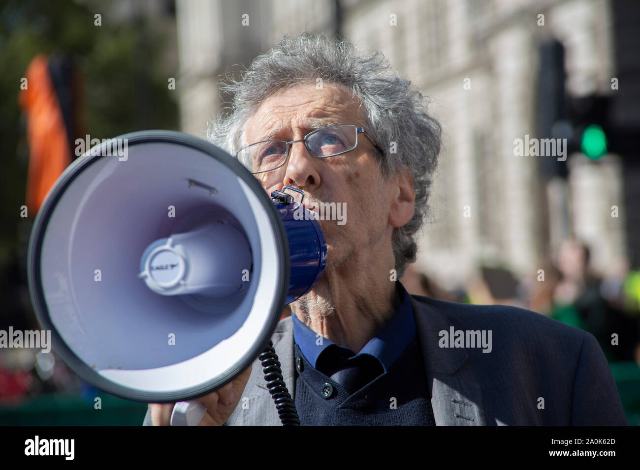 Westminster, London UK. 20 September 2019. Global Climate Strike Protest: Piers Corbyn, brother of Labour leader Jeremy Corbyn MP outside Parliament. Stock Photo