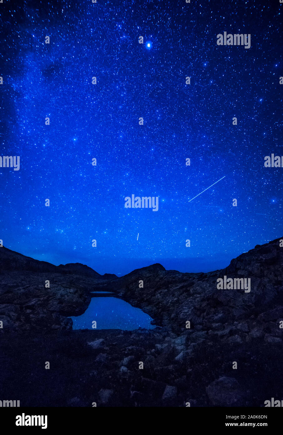 Falling stars and Milky Way over Eldorado Lake, San Juan Mountains, Weminuche Wilderness, Rocky Mountains,  CO, USA Stock Photo