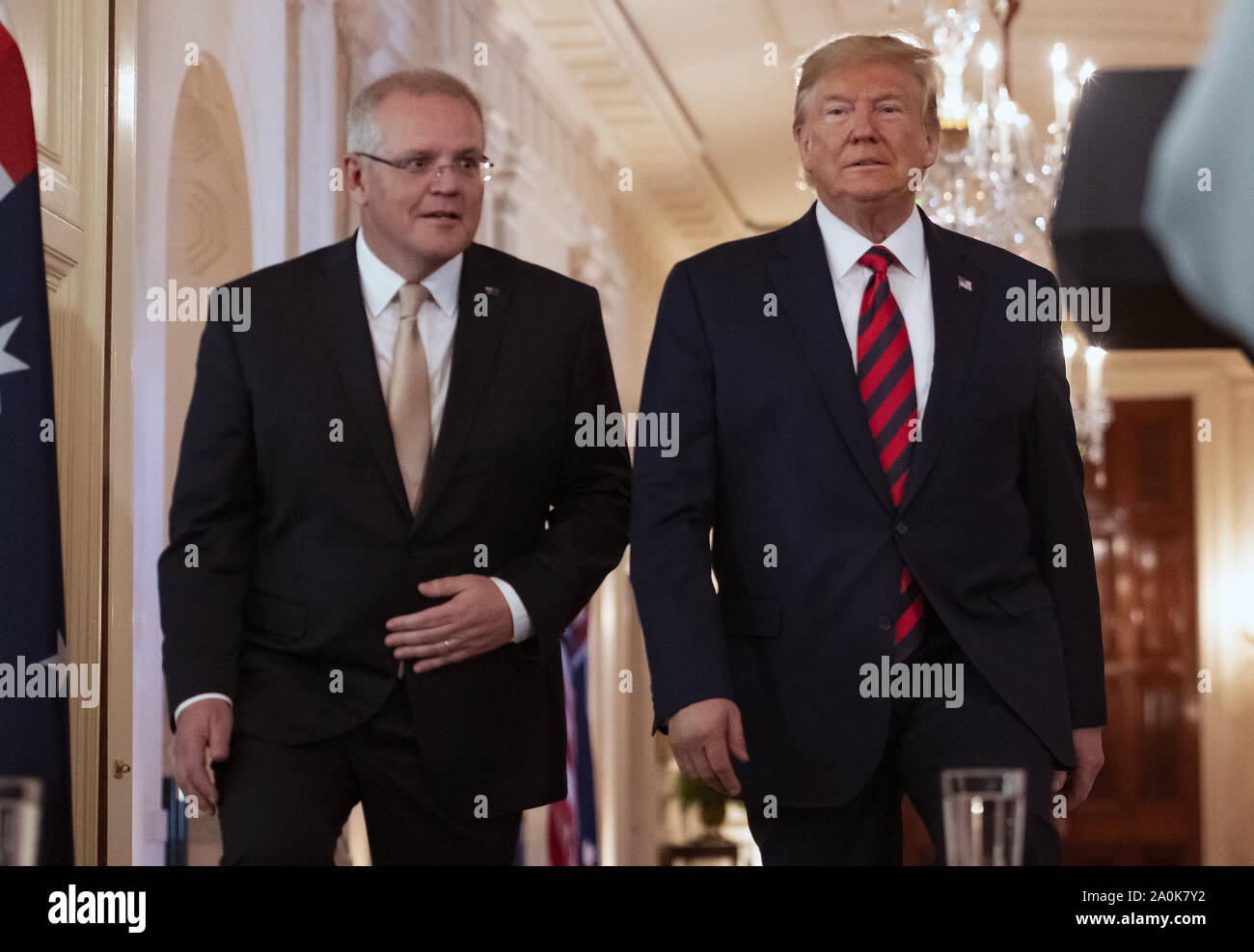 Washington DC, USA. 20th Sep, 2019. United States President Donald J. Trump, right, and Prime Minister Scott Morrison of Australia, left, arrive to conduct a joint press conference in the East Room of the White House in Washington, DC on Friday, September 20, 2019 Credit: Ron Sachs/CNP/ZUMA Wire/Alamy Live News Stock Photo