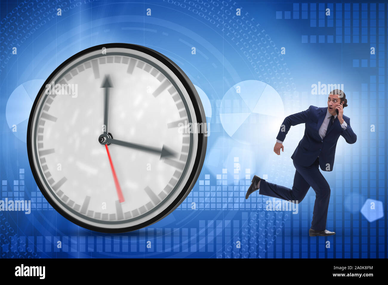 The businessman employee in time management concept Stock Photo