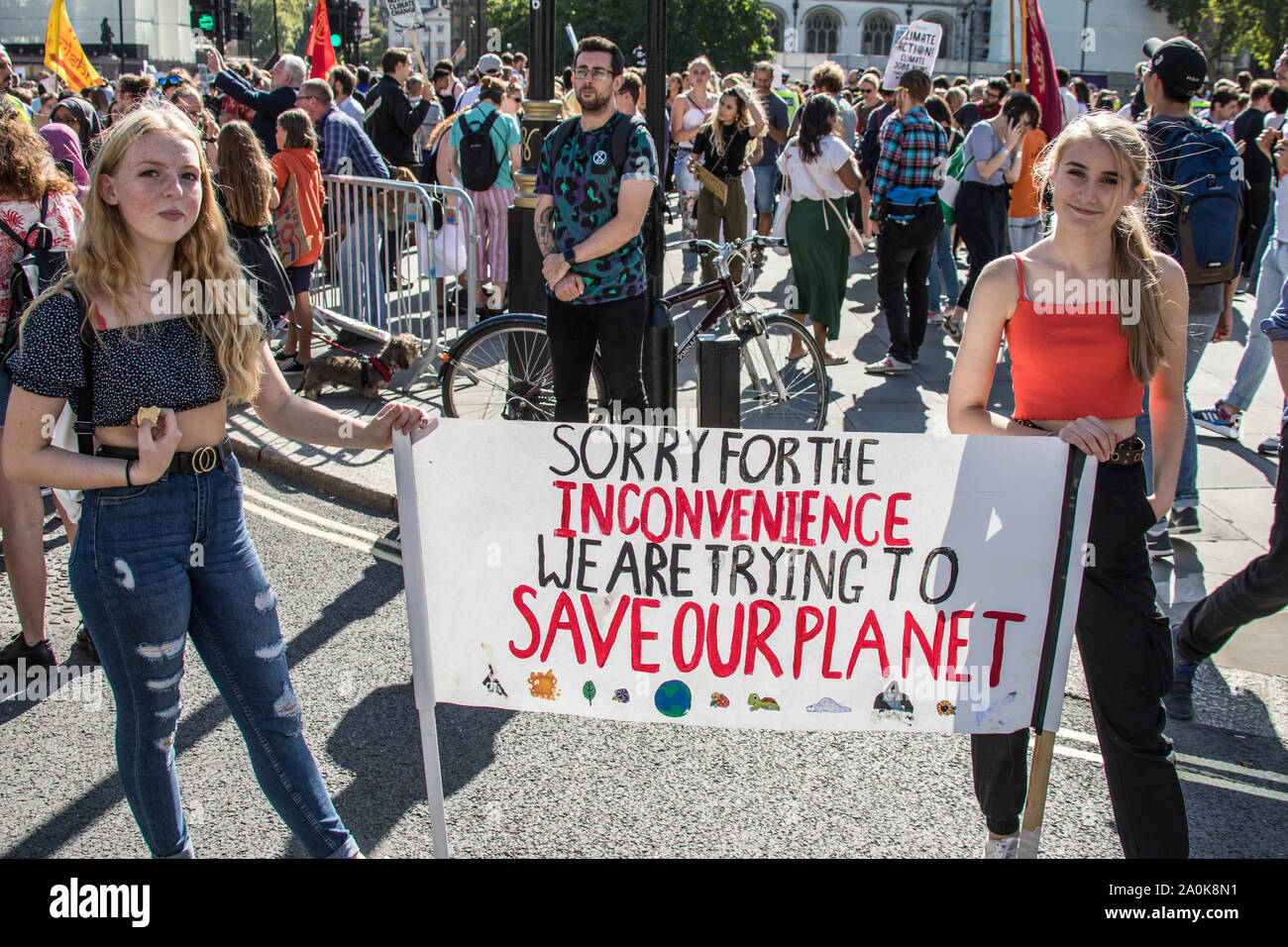 London, UK. 20th Sep, 2019. Thousands rallied in central London, including school children and workers, as part of a Global climate strike.David Rowe/Alamy Live News. Stock Photo