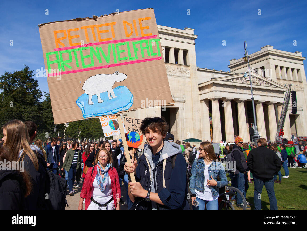 """Munich, Germany. 20th Sep, 2019. People demonstrate as International Solidarity Movement """" Friday for Future """" on the Königsplatz to save the climate in Munich, Germany, September 20, 2019. Credit: Peter Schatz/Alamy Live News Stock Photo"""