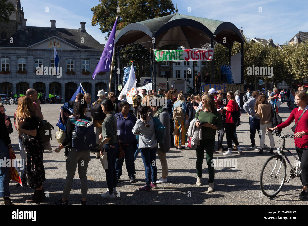 emonstration in Maastricht during the global climate strike asking attention for the Sustainable Development Goals and Act for Global goals Stock Photo