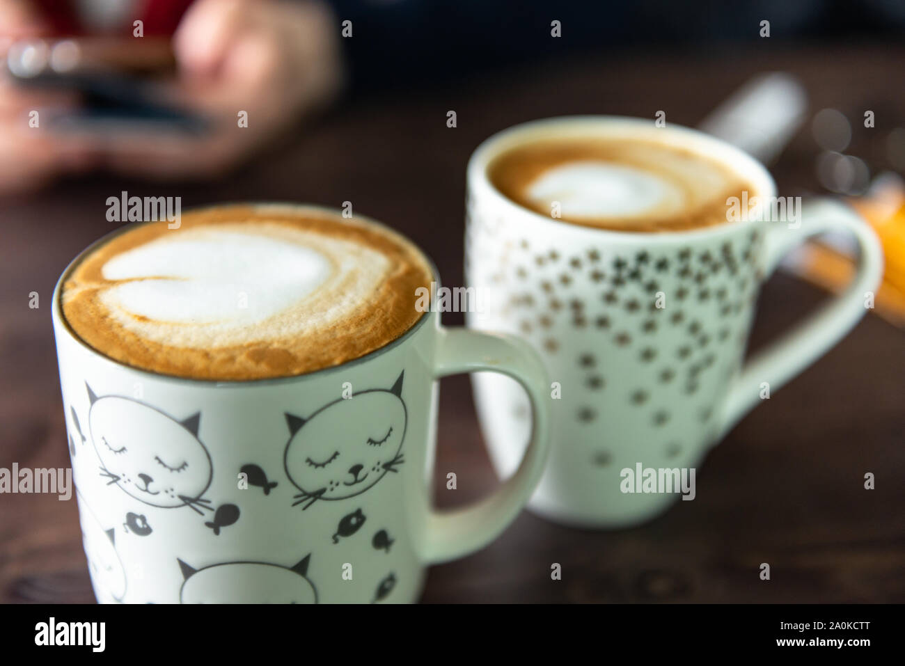Beautiful Coffee In Cute Mugs Delicious Coffee In The Cafe Stock Photo Alamy