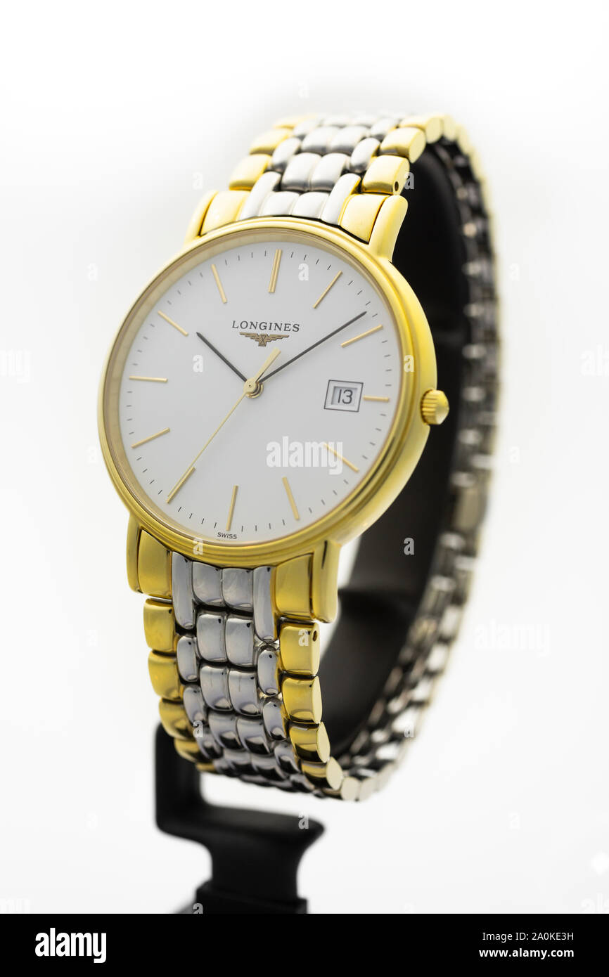 Saint-Imier, Switzerland September 15 2019 - Longines Présence Watch, manufactured in keeping with tradition for an elegance beyond compare swiss Stock Photo