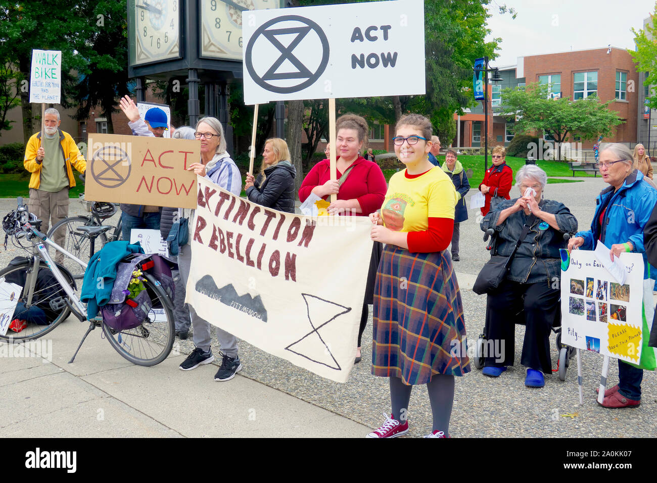 Picketers at a ClimateStrike Rally Held in Downtown Maple Ridge, B. C., Canada. Stock Photo