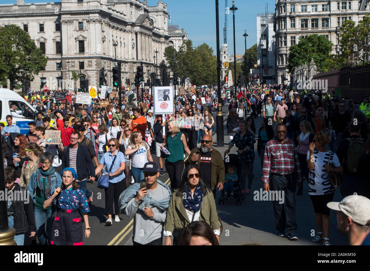 London, UK. 20 September 2019. Around 100,000 people, led by school children on strike, protested in Westminster, London, calling for urgent action to combat the climate crisis. Similar protests were held across the UK, and around the World. © Stuart Walden/ Alamy Stock Photo