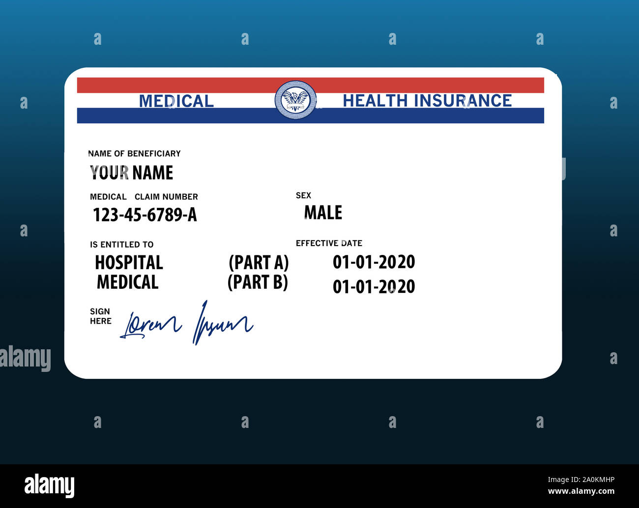 New Medicare Card 2020.Here Is A Mock Generic 2020 Medicare Health Insurance Card