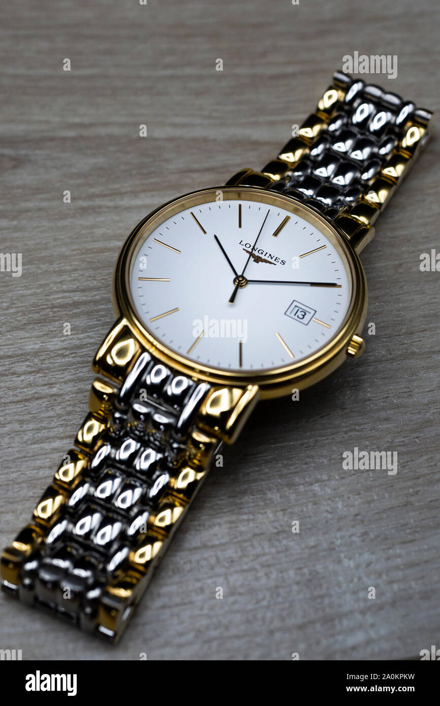Saint-Imier, Switzerland September 15 2019 - Longines Présence Watch keeping with tradition for an elegance beyond compare swiss made luxury wrist Stock Photo