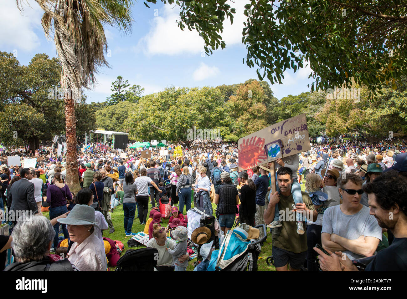 Sydney, Worldwide climate change strike protest taking taking place in the Domain in Sydney city centre,New South Wales,Australia Stock Photo