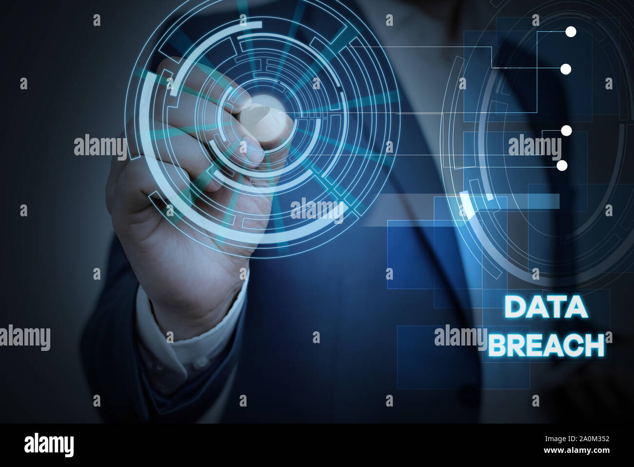 Conceptual hand writing showing Data Breach. Concept meaning security incident where sensitive protected information copied Male wear formal suit pres Stock Photo