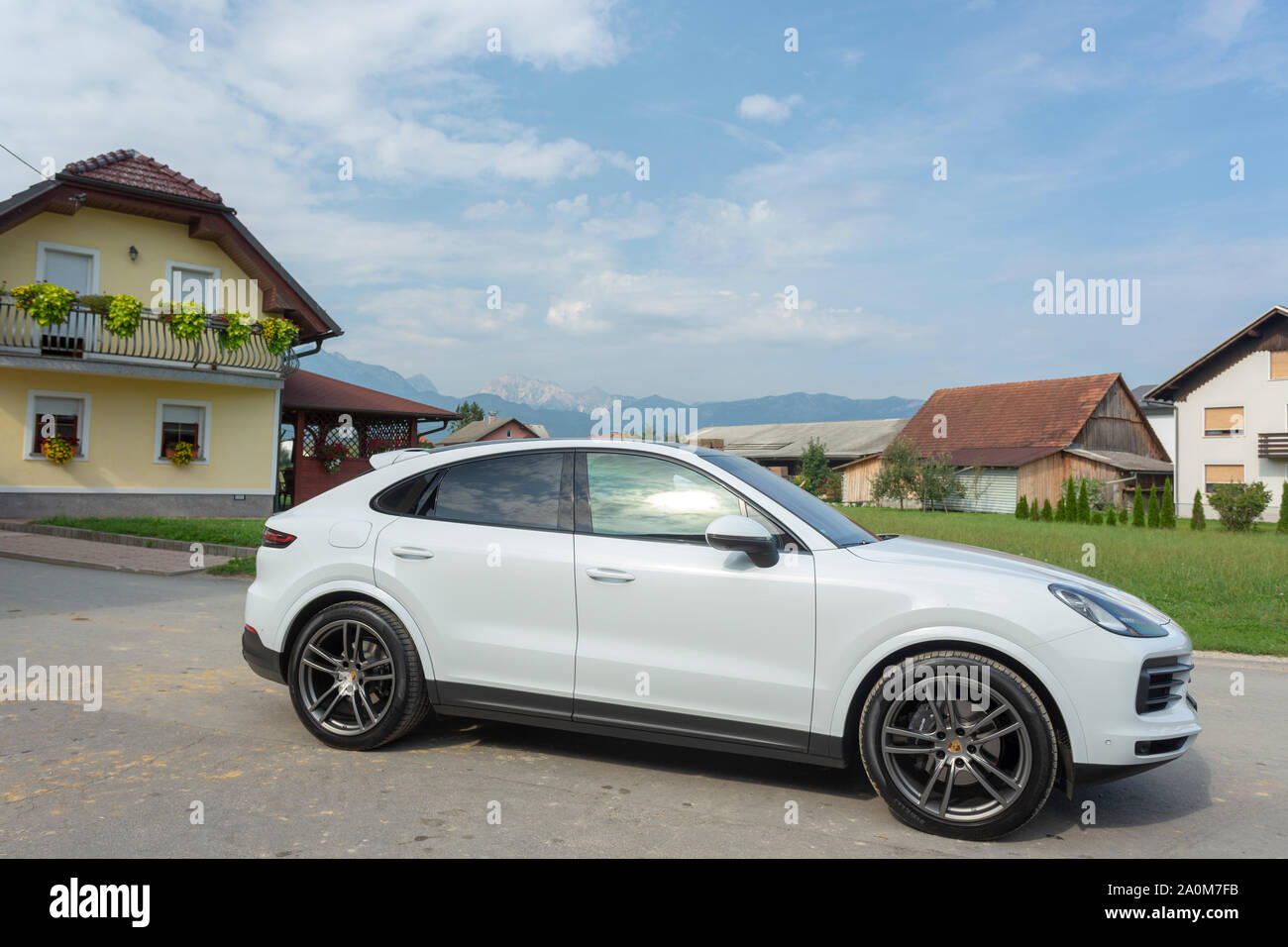 Slovenia Ljubljana 31 August 2019 White Suv Porsche Cayenne Coupe Turbo S From Stuttgart During Test Drive In European Village Stock Photo Alamy