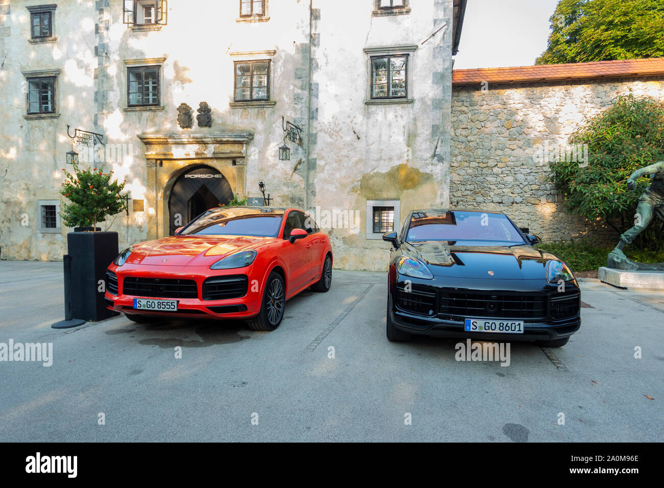 Slovenia Ljubljana 31 August 2019 Red And Black Porsche Cayenne Coupe Turbo S From Stuttgart During Test Drive Stock Photo Alamy