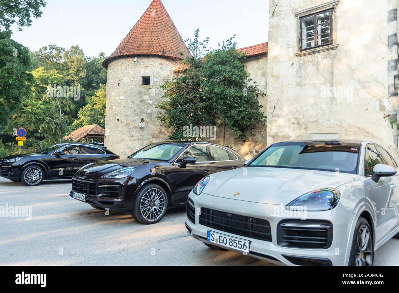 Slovenia Ljubljana 31 August 2019 Black And White Sport Suv Porsche Cayenne Coupe Turbo S From Stuttgart During Presentation Stock Photo Alamy