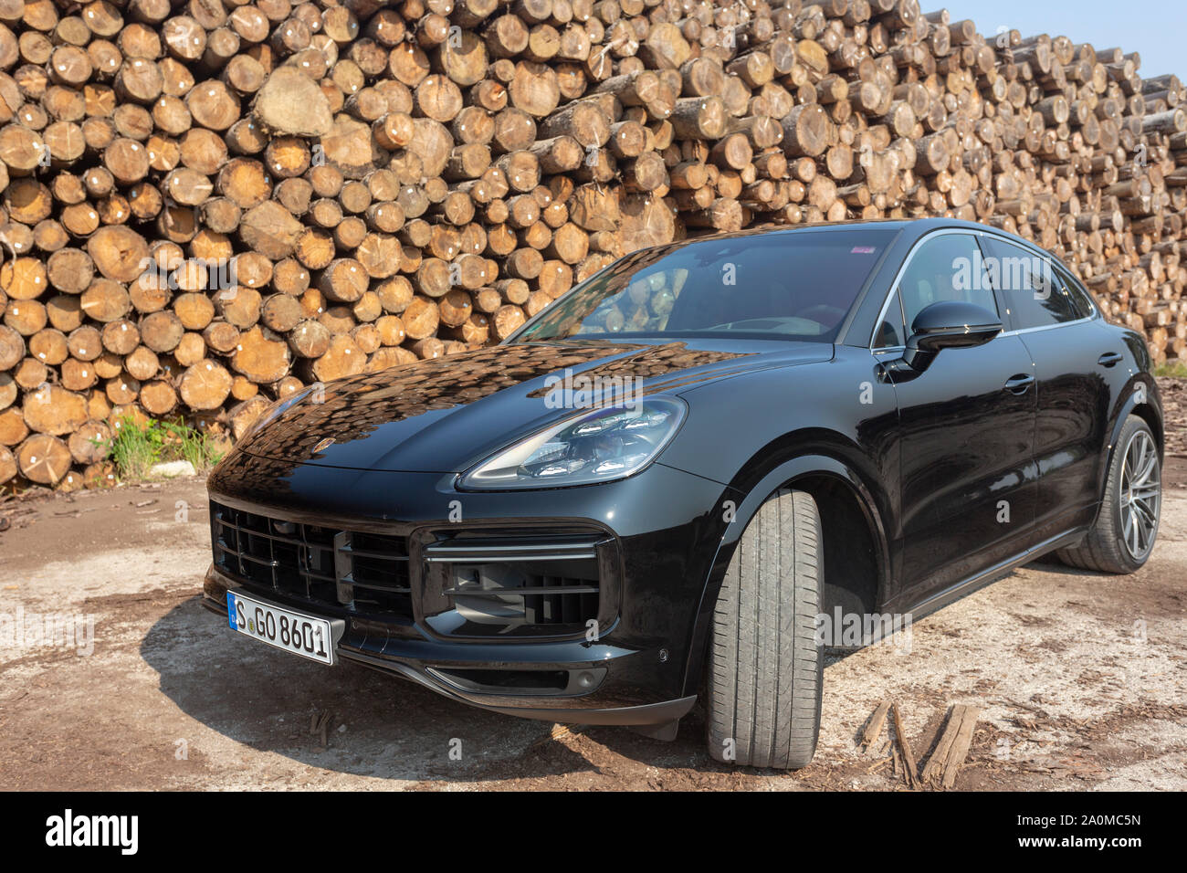 Slovenia Ljubljana 31 August 2019 All New Black Porsche Cayenne Coupe Turbo S From Stuttgart During With Wooden Background Test Drive On Sawmill Stock Photo Alamy