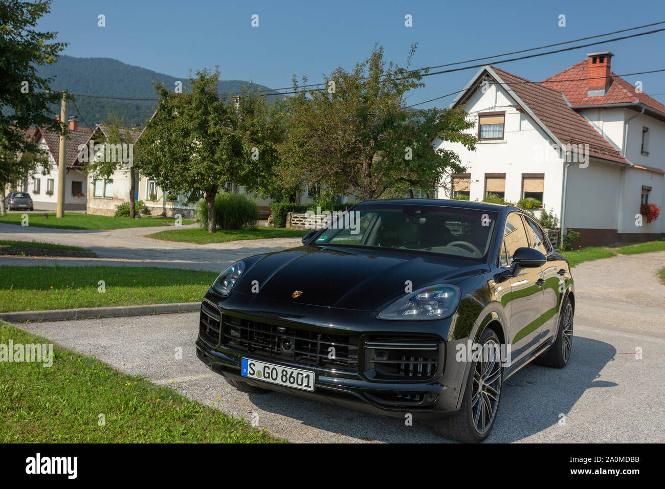 Slovenia Ljubljana 31 August 2019 Black Porsche Cayenne Coupe Turbo S From Stuttgart During Test Drive In Old European Town Stock Photo Alamy