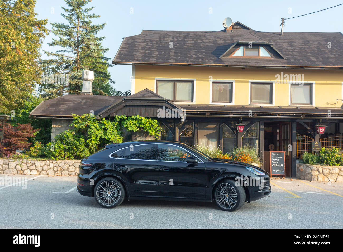 Slovenia Ljubljana 31 August 2019 Black Sport Suv Porsche Cayenne Coupe Turbo S From Stuttgart During Test Drive Stock Photo Alamy