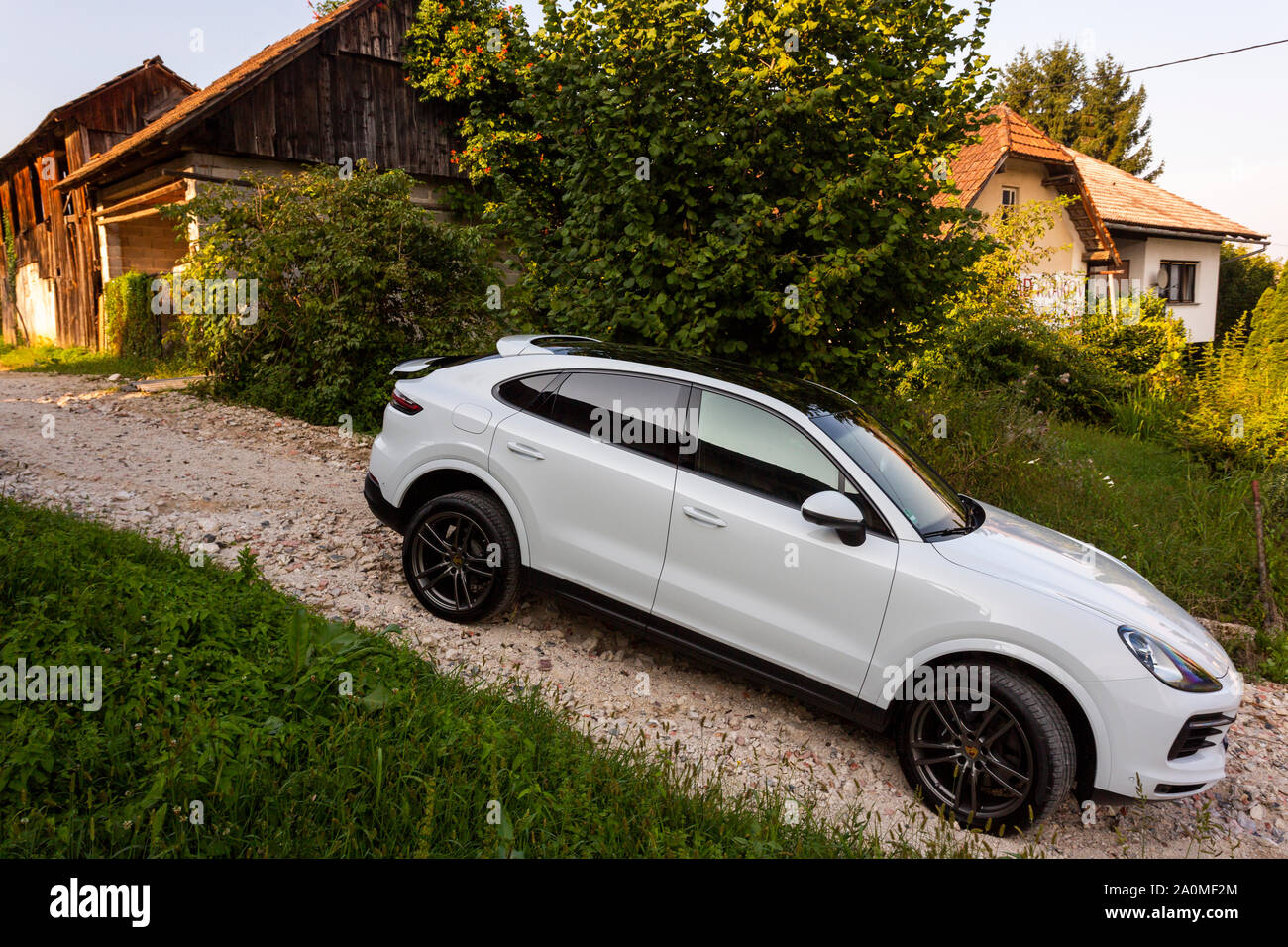 Slovenia Ljubljana 31 August 2019 White Suv Porsche Cayenne Coupe Turbo S From Stuttgart On Terrain Offroad During Test Drive Stock Photo Alamy