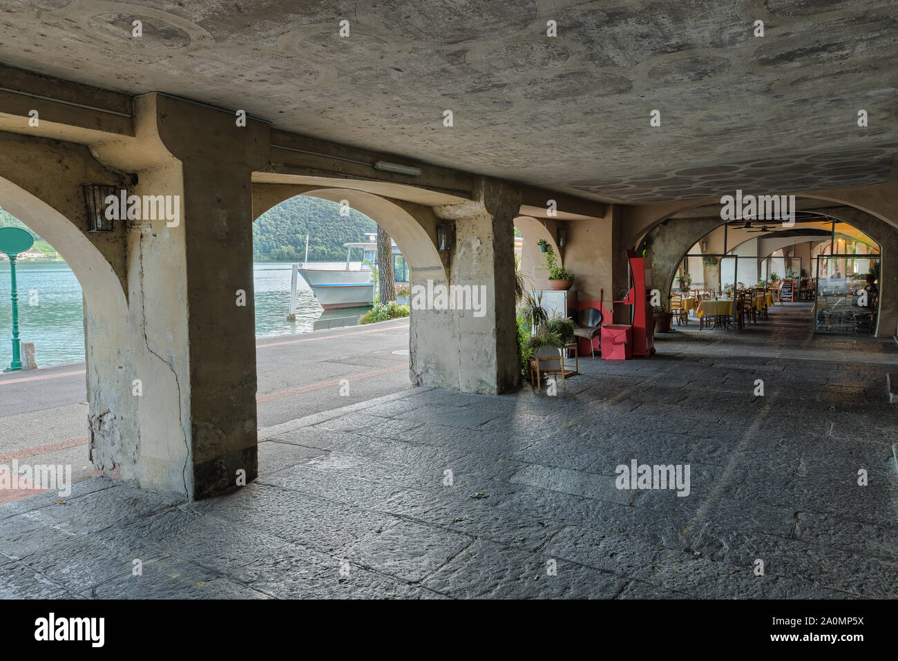 Lake Lugano, historic center and lakefront of Morcote, Switzerland Stock Photo