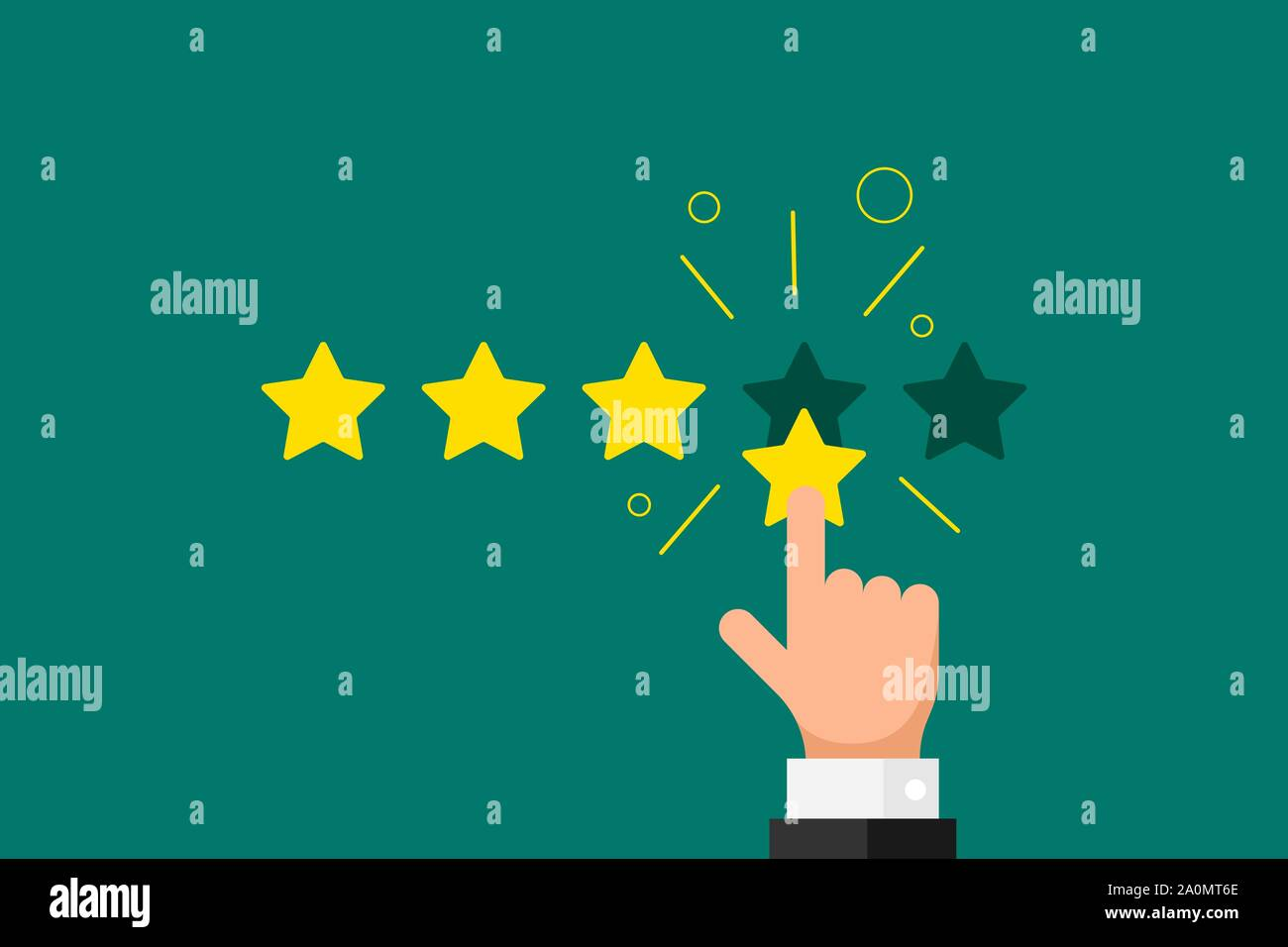 Online feedback reputation good quality customer review concept flat style. Businessman hand finger pointing 4 four gold star rating on green background. Vector rank result illustration Stock Vector