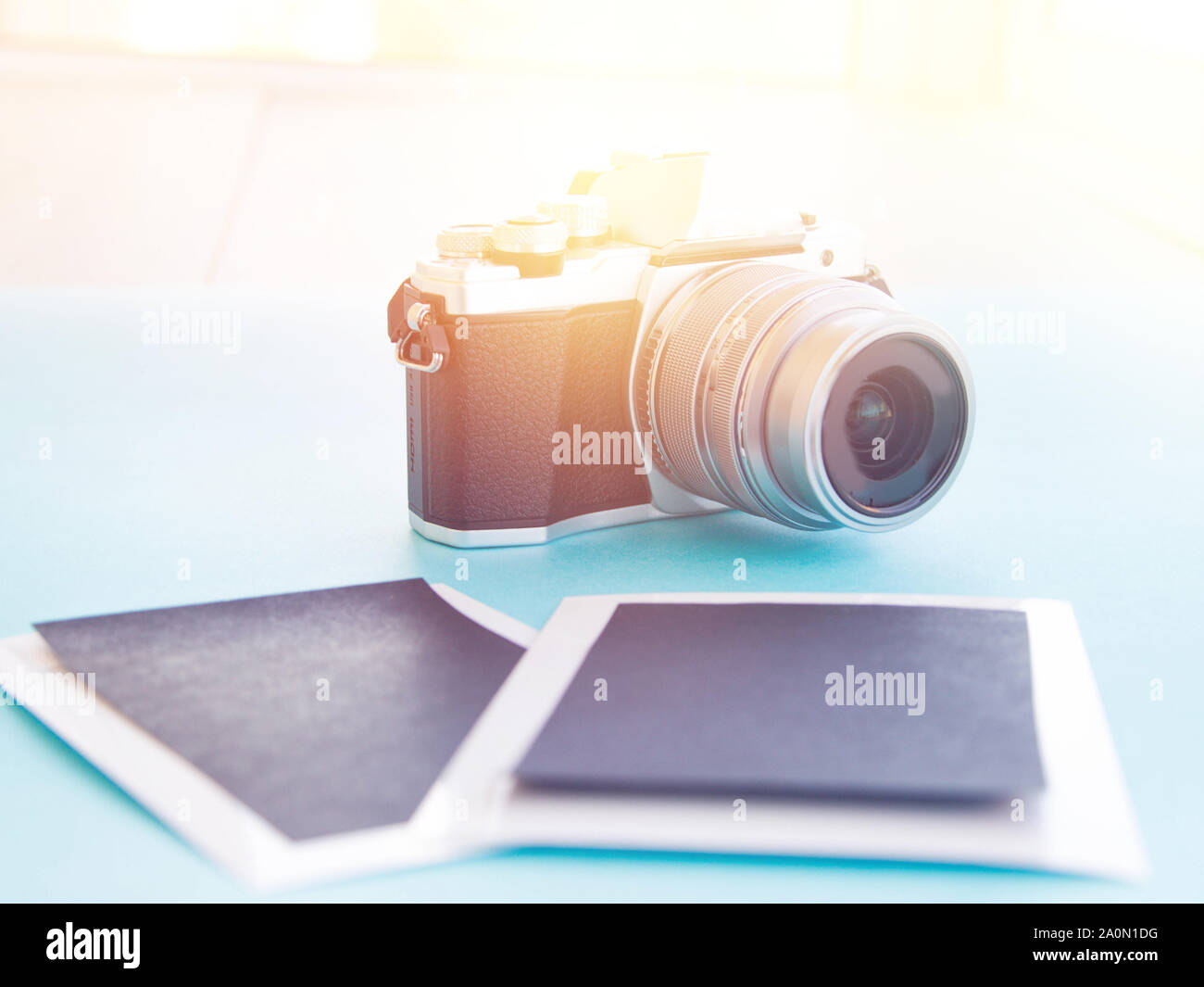 Photography With Camera, two template pictures modern tinted toned. Stock Photo