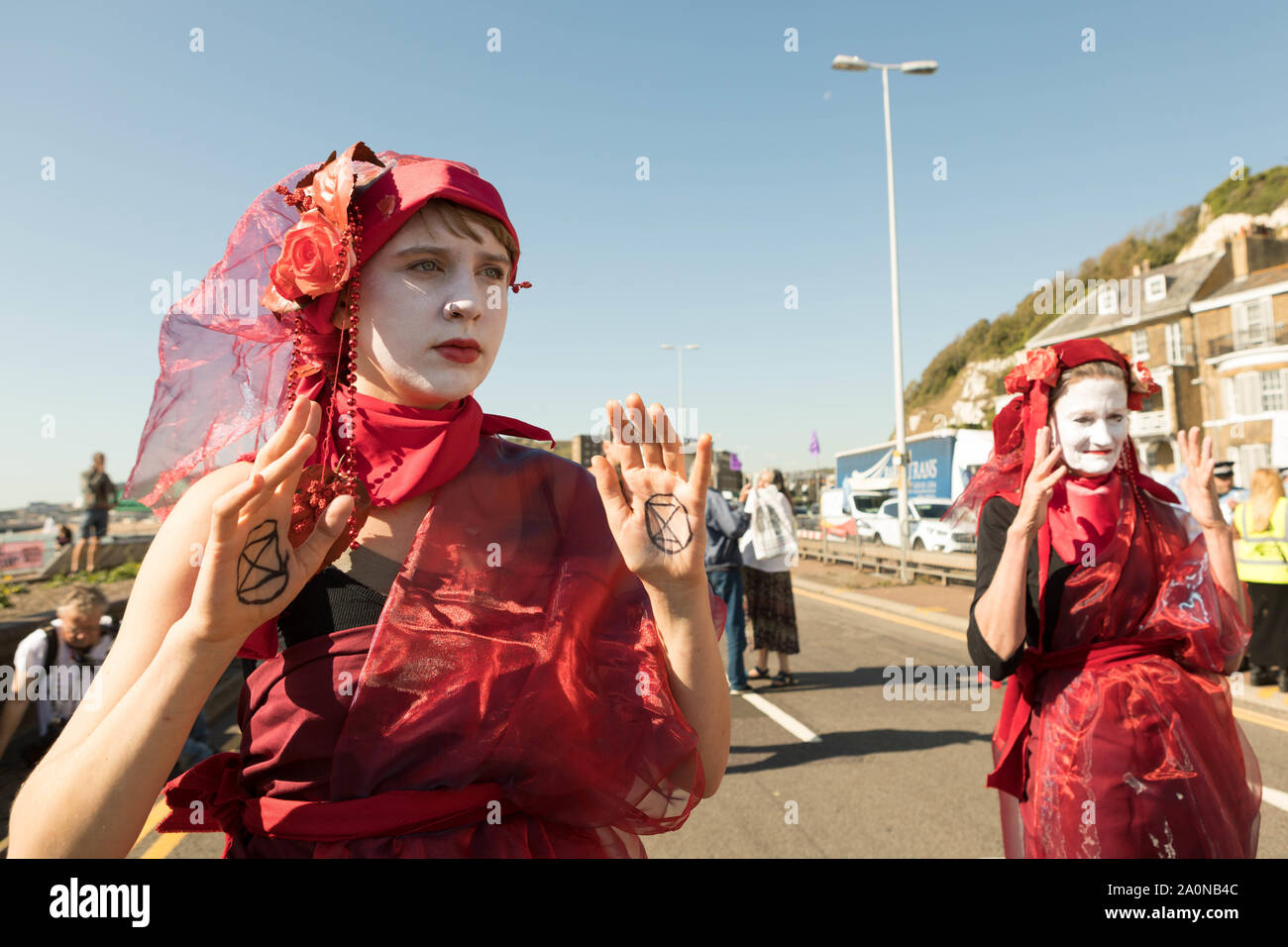 Port of Dover, Kent, UK. 21st Sept, 2019. Environmental group Extinction Rebellion supporters block roads around the Port of Dover. The Dover road block is to highlight the extreme vulnerability of the British people to food insecurity and underline the need for the Government to take emergency action on the climate and ecological crisis. Penelope Barritt/Alamy Live News Stock Photo