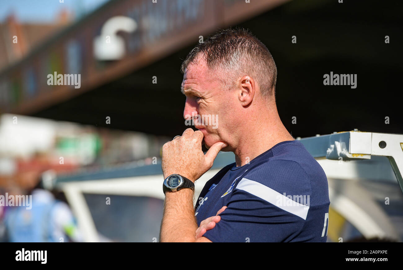 London UK 21 September 2019 - Bristol Rovers manager Graham Coughlan during the Sky Bet League One football match between AFC Wimbledon and Bristol Rovers at the Cherry Red Records Stadium  - Editorial use only. No merchandising. For Football images FA and Premier League restrictions apply inc. no internet/mobile usage without FAPL license - for details contact Football Dataco. Credit : Simon Dack TPI / Alamy Live News Stock Photo