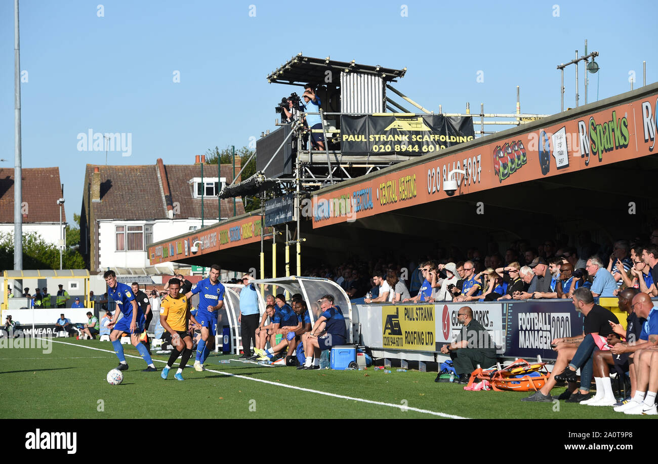 London UK 21 September 2019 -  The Sky Bet League One football match between AFC Wimbledon and Bristol Rovers at the Cherry Red Records Stadium - Editorial use only. No merchandising. For Football images FA and Premier League restrictions apply inc. no internet/mobile usage without FAPL license - for details contact Football Dataco. Credit : Simon Dack TPI / Alamy Live News Stock Photo