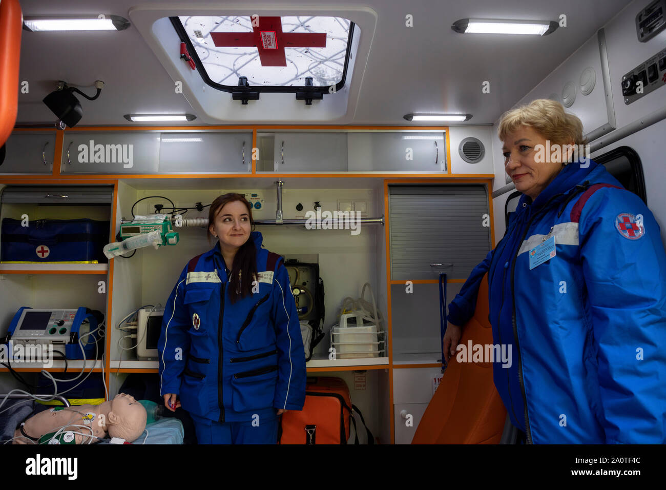 A team of Ambulance inside a pediatric intensive care unit in Moscow, Russia Stock Photo