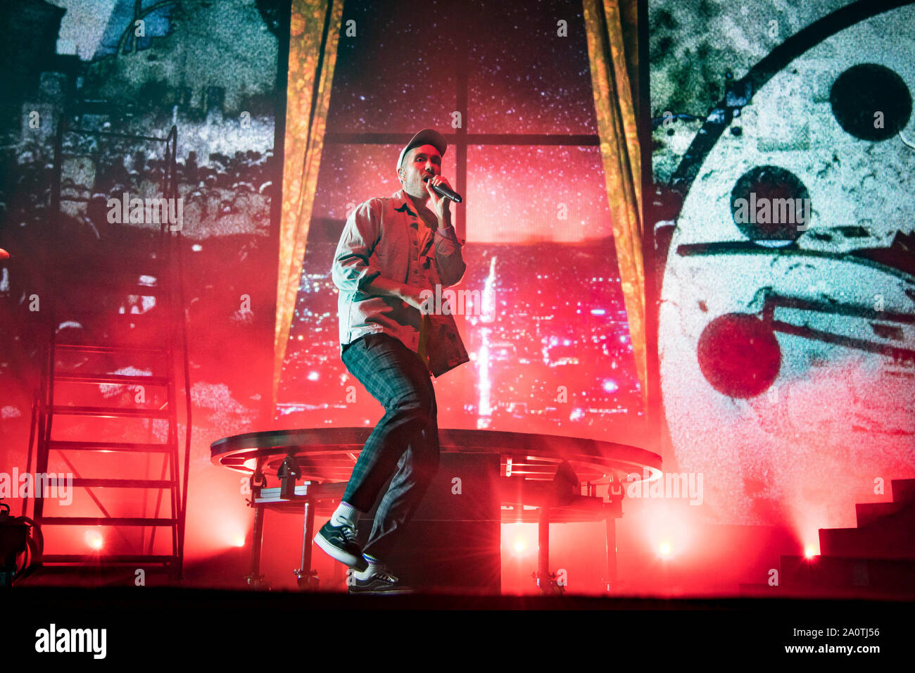 Lead singer of British Indie pop band, Bastille, Dan Smith performs a sold out show in Toronto. Stock Photo