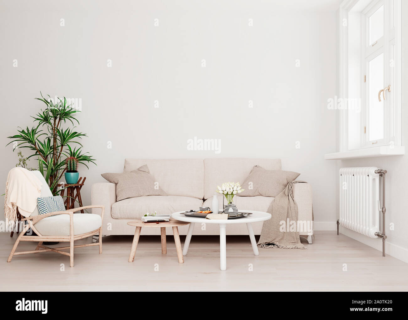 Mock Up Wall With Beige White Sofa Two Tables And A Chair In Modern Interior Background Living Room With Large Window An Radiator Scandinavian Styl Stock Photo Alamy