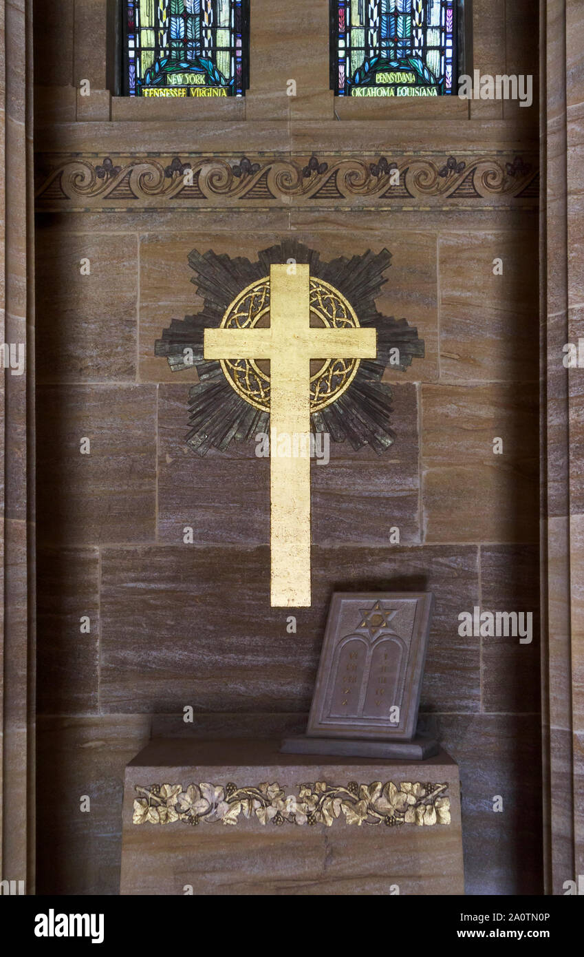 Interior of the Chapel in the American Section of the Military Cemeteries at Brookwood Cemetery, Pirbright, Woking, Surrey, southeast England, UK Stock Photo