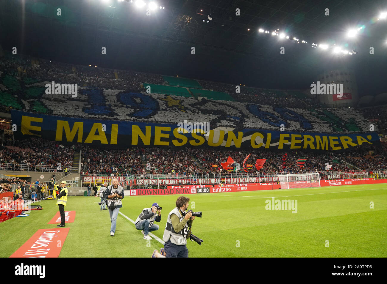 MILAN, ITALY - SEPTEMBER 21: The FC Internazionale pre-game ceremony during the Seria A match between AC Milan vs FC Internazionale at Stadio San Siro, Stadio Giuseppe Meazza on September 21, 2019 in Milan, Italy.  Credit: Daniela Porcelli/SPP/Alamy Live News Stock Photo