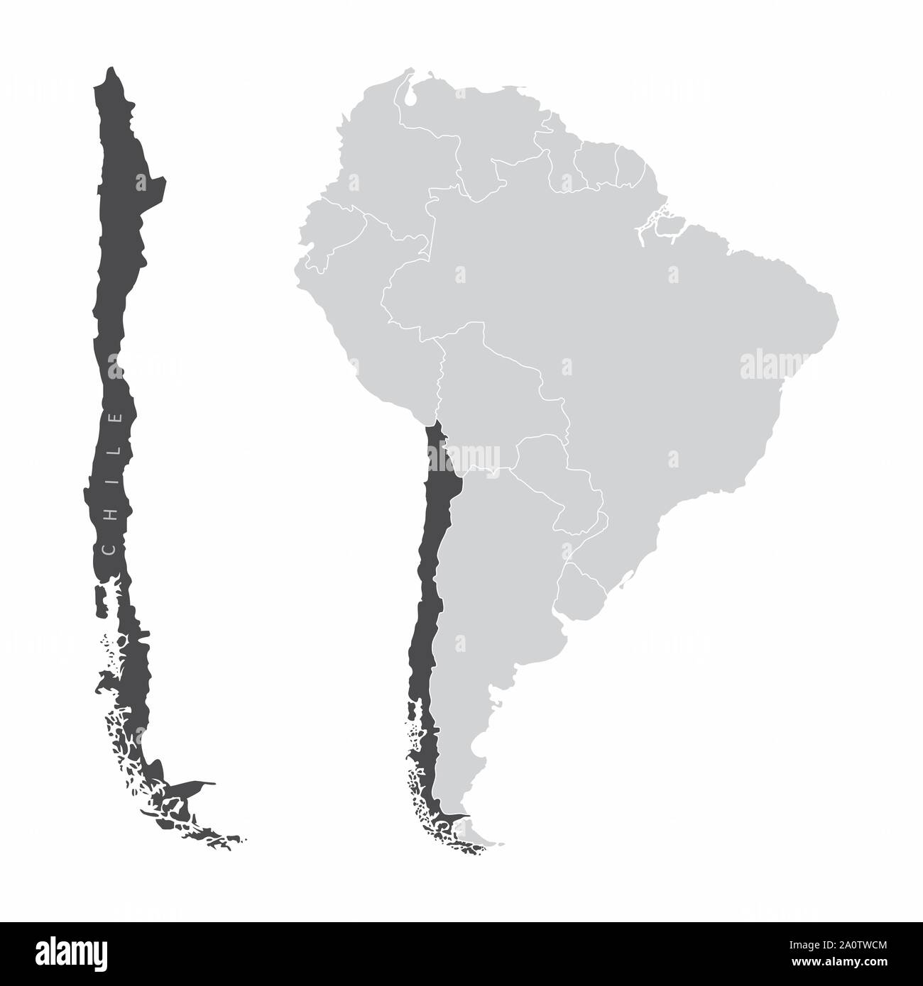 The Chile map and its location in South America Stock Vector