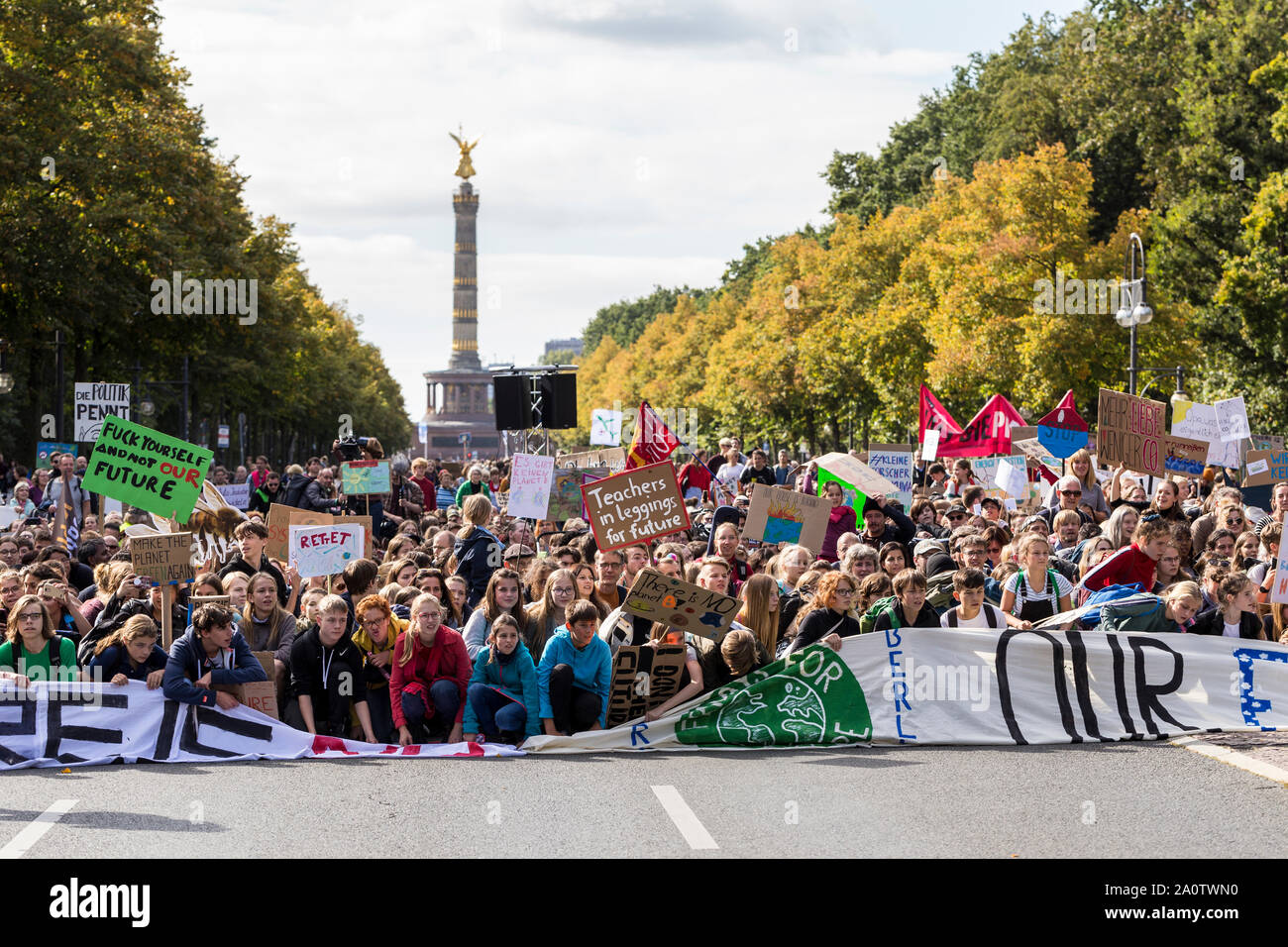 Berlin, Germany 9/20/2019 Young People Take to Streets in a Global Strike Protesting Climate Change. Fridays For Future Demonstration In Berlin. Stock Photo