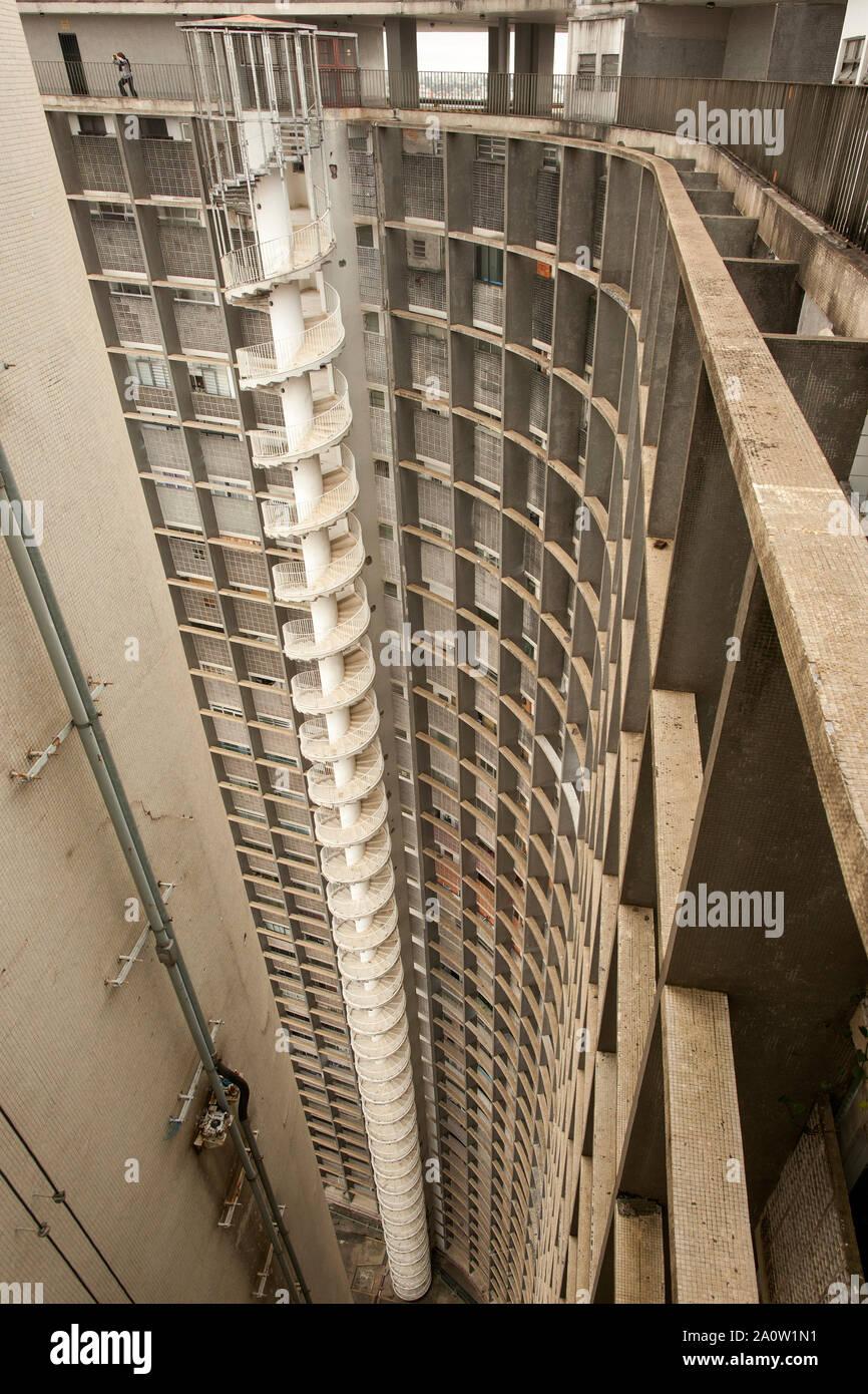 Spiral staircase and exterior facade of the Copan building São Paulo, Brazil. Stock Photo