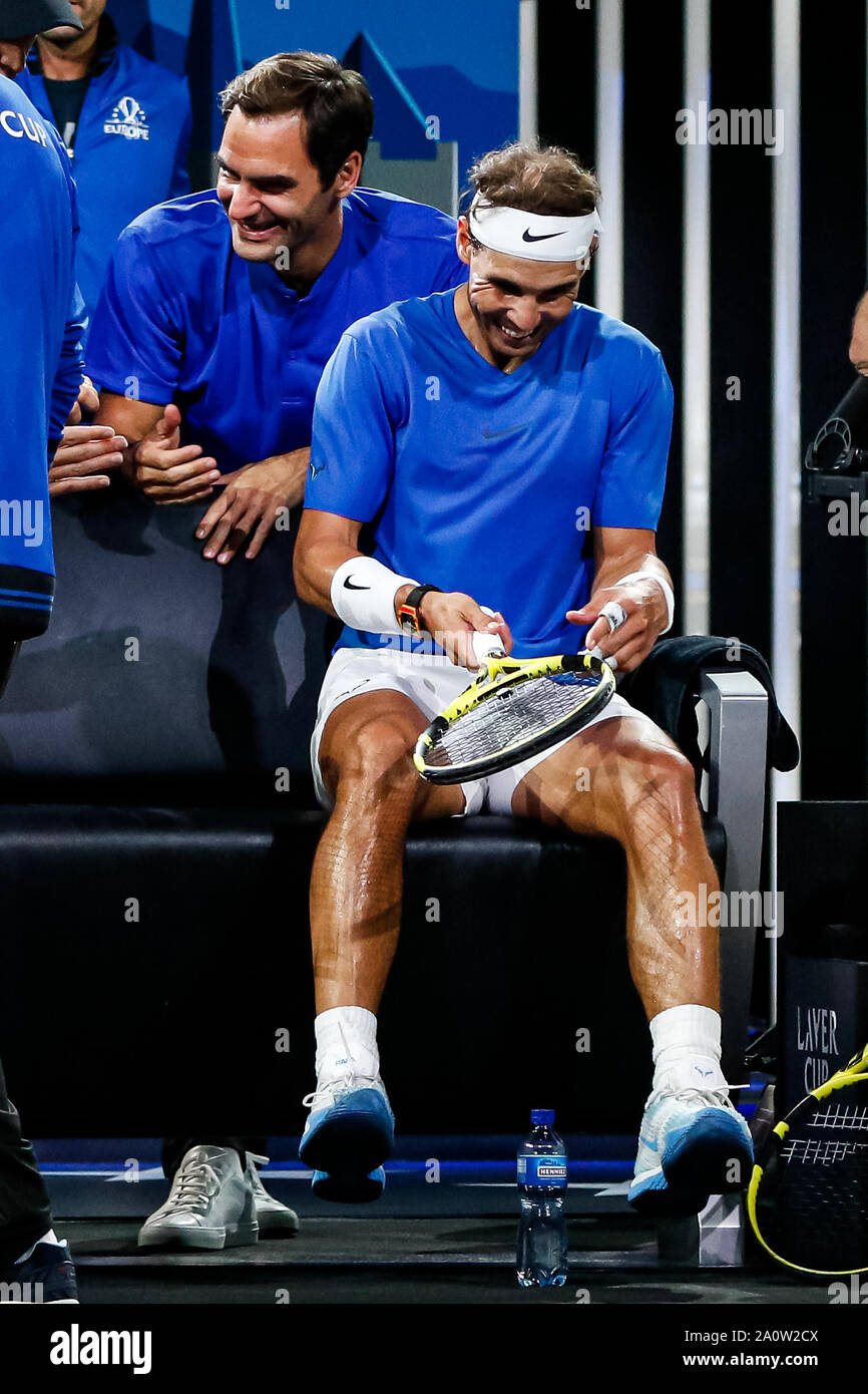 Geneva Switzerland 21st Sep 2019 Rafael Nadal Of Team Europe And Roger Federer Of Team Europe Reacts During Day 2 Of The Laver Cup 2019 At Palexpo On September 21 2019 In