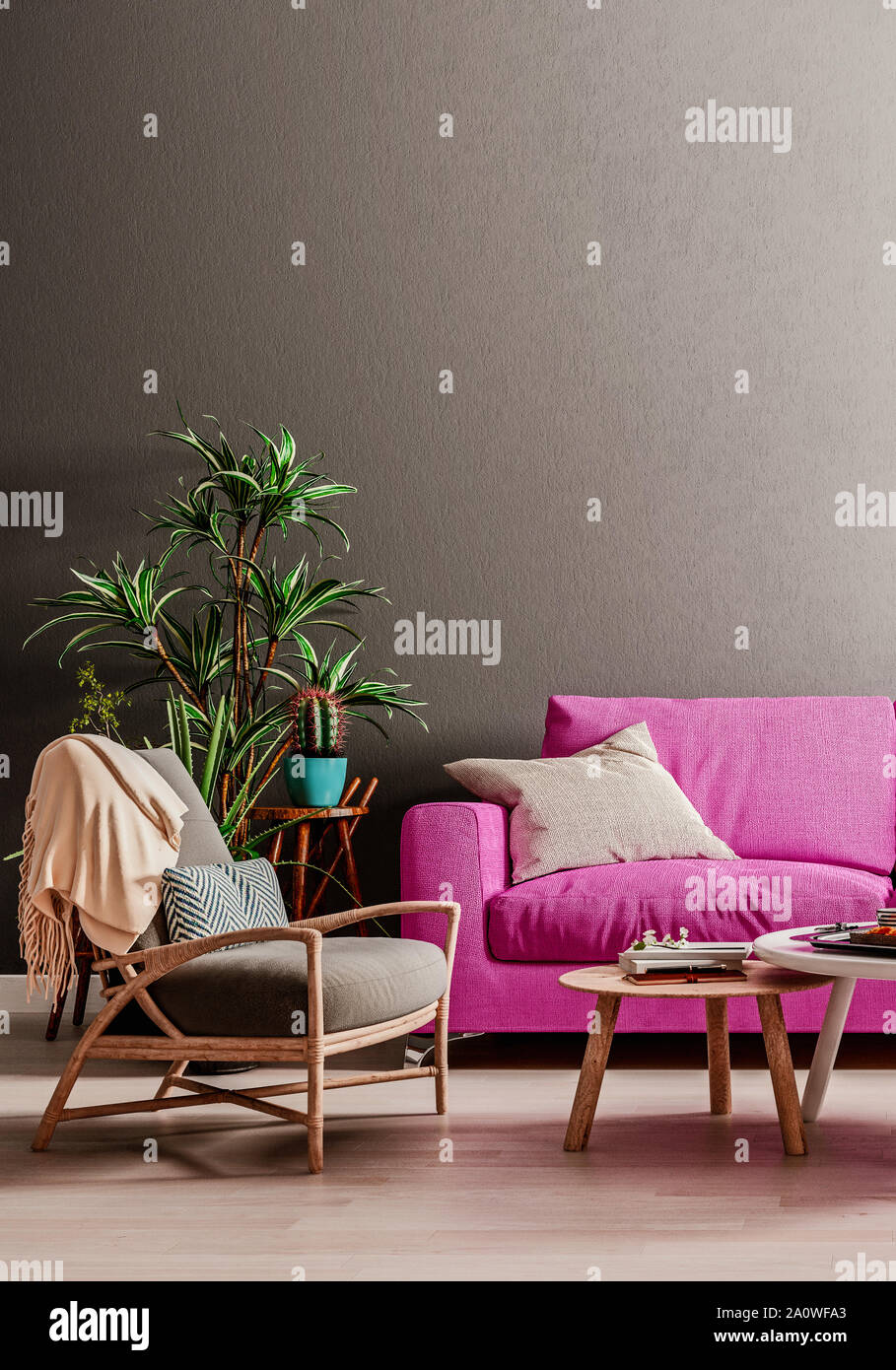 Dark mock up wall with violet purple sofa, two tables and a ...