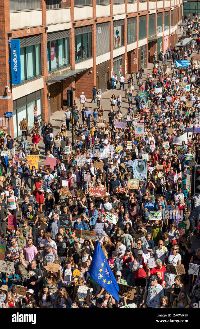 Many hundreds of schoolchildren & adults marched through the centre of Bristol demanding action on climate change. Part of a world-wide day of action. Stock Photo