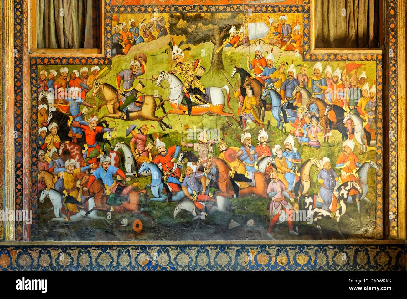 Fresco, battle between Shah Esmaeel Safavid I and Sheibak Khan the Uzbek in 1511, Chehel Sotoun, Esfahan, Iran Stock Photo