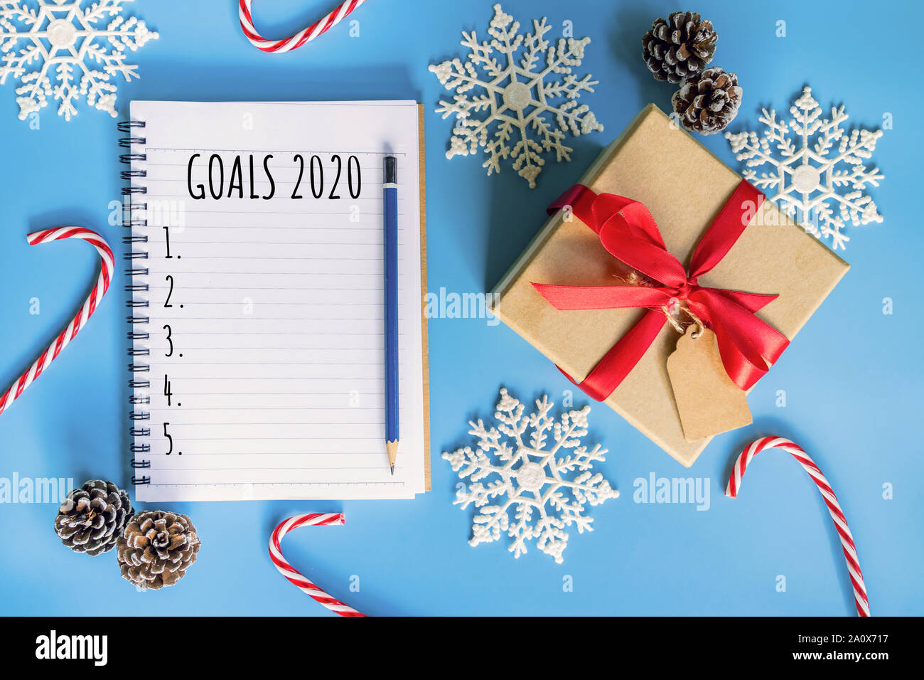 Christmas List 2020.2020 New Year Concept Goals 2020 List In Notepad Gift Box