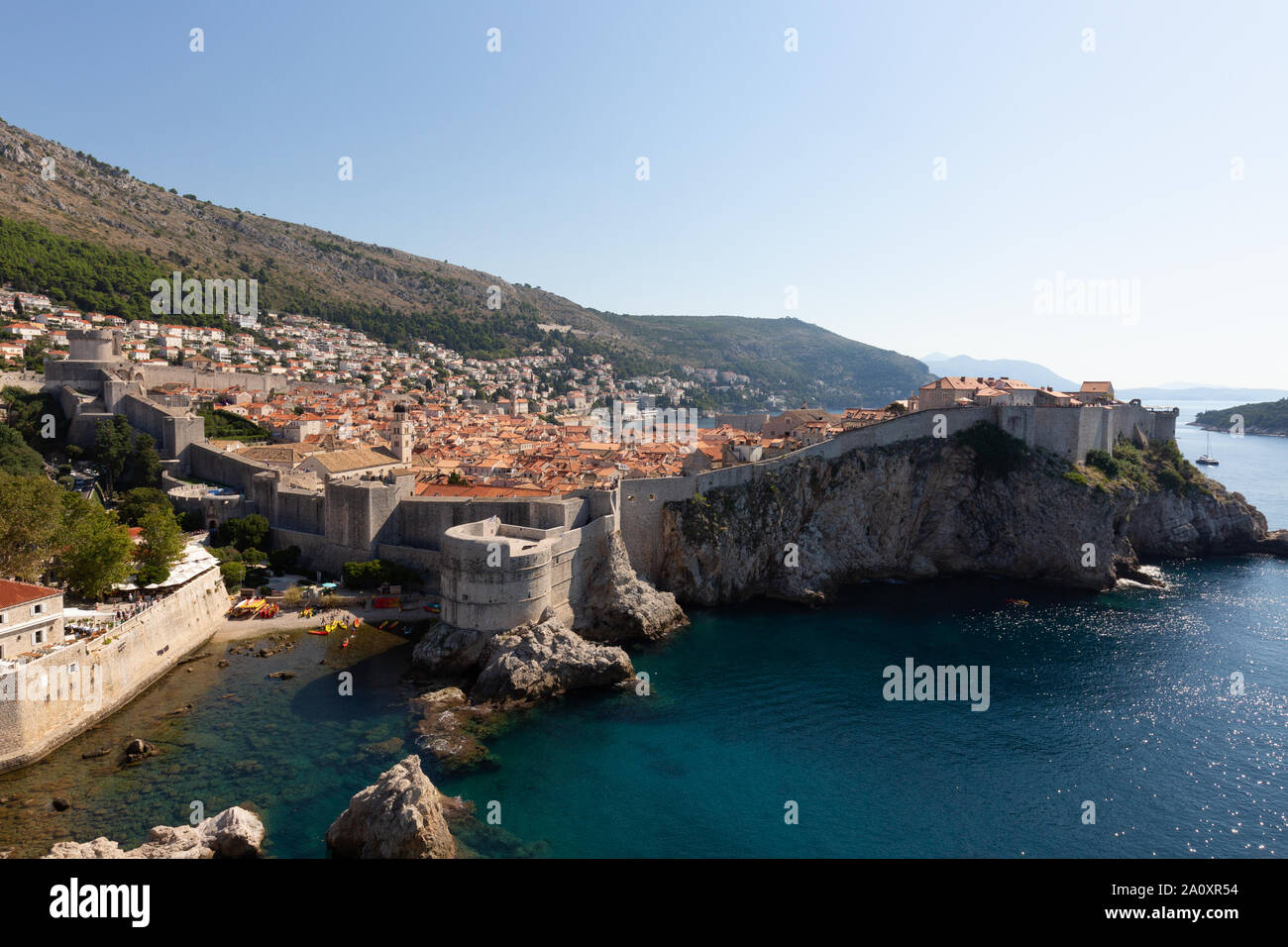Dubrovnik city walls - a view of Dubrovnik old town and city wall, UNESCO World Heritage site, from Fort Lovrijenac; Dubrovnik Croatia Europe Stock Photo