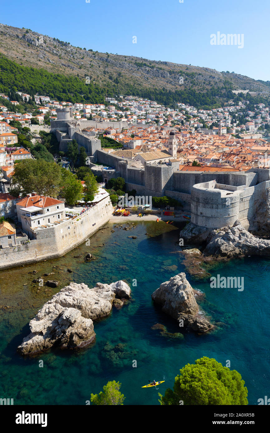 Dubrovnik walls of the walled city and the Adriatic sea, UNESCO world heritage site, view from the fort in summer, Dalmatian coast, Croatia Europe Stock Photo