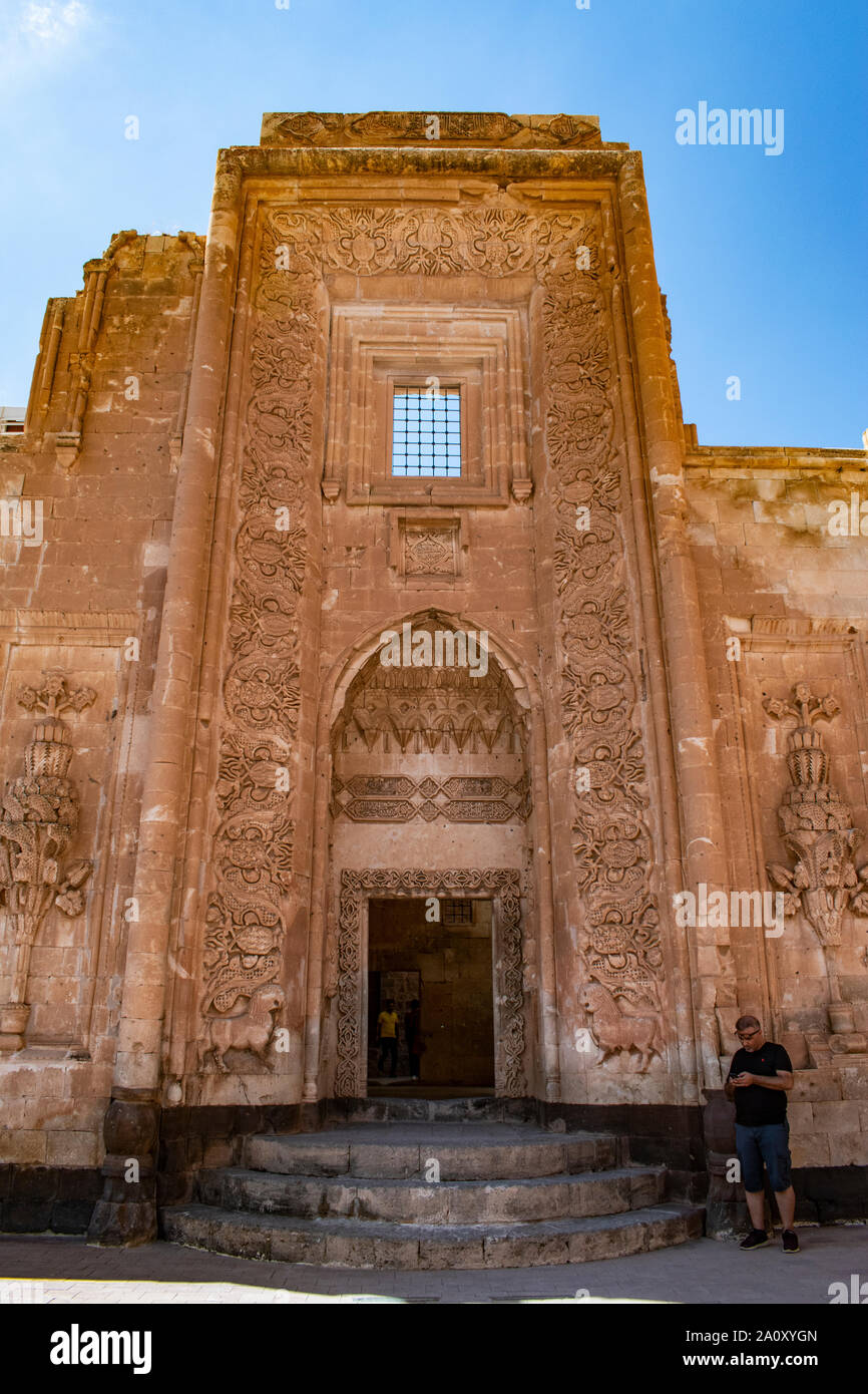 Dogubayazıt, Turkey: the gate in the main courtyard of the Ishak Pasha Palace, the famous semi-ruined palace of Ottoman period (1685-1784) Stock Photo