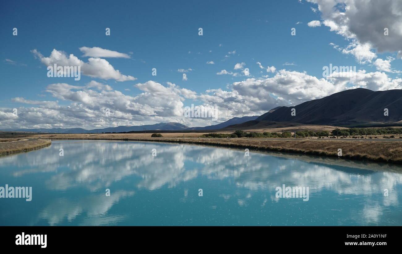 Extreme blue lake pukaki south island new zealand Stock Photo